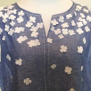 Liz Claiborne  linen top with floral detail